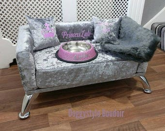 Luxury Handmade, Memory Foam, Crushed Velvet Dog / Cat Bed / Sofa - S - SMALL Electric Heated Option, Any Color Plus FREE Extras