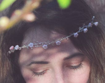 Handmade pink and silver hair vine