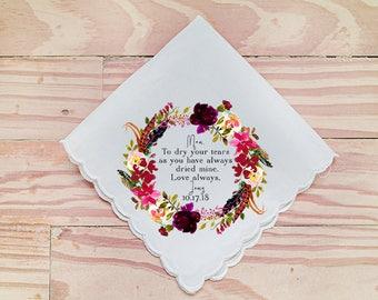 Wedding Handkerchief, Mother of the Bride Handkerchief, Mom Handkerchief, To dry your tears, Printed Hankie, Hankie Gift- 113