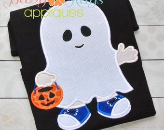 Little Ghost Boy Applique Design 4x4, 5x7, 6x10, 8x8