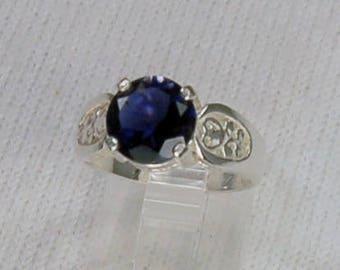 Iolite Ring, Size 7, Deep Cobalt Blue, Natural Iolite, Water Sapphire, Sterling Silver, Large Iolite, Round Iolite, Big Blue Iolite