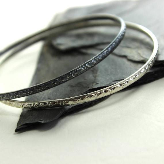 Ornate FDiamond Faceted Sterling Silver Bangle Bracelet- Polished, Oxidized Fall Fashion Stacking Bangle