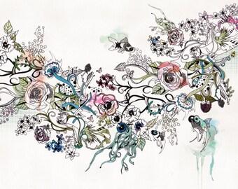 Print of Original ink Drawing, Colourful Art of Flowers Drawing, Modern Art