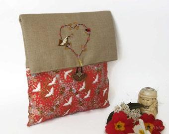Japanese Fabric Clutch Bag , Cosmetic Clutch Bag, Cosmetic Foldover Pouch, Cosmetic Clutch Bag, Travel Clutch Bag, Fabric Pouch with a Flap