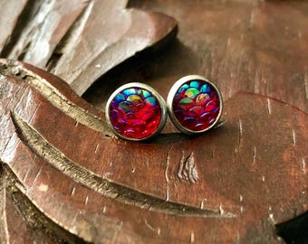 8mm Fuschia Mermaid Scale Studs