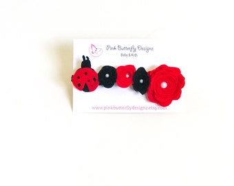 LadyBug Headband - Red and Black headband - Red Headband - Nylon Headband - Baby headband - ladybug birthday headband