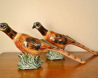 Vintage Pheasant Planter Pair, Ceramic