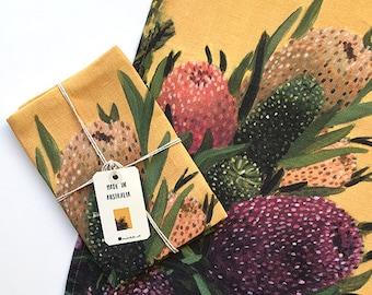 Botanical Tea towel // Australian Native Napery // Floral Kitchen Decor // Gifts for overseas friends // Linen tea towel // Yellow Gifts