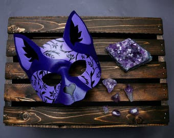 Masquerade Cat Mask - Purple Art Nouveau