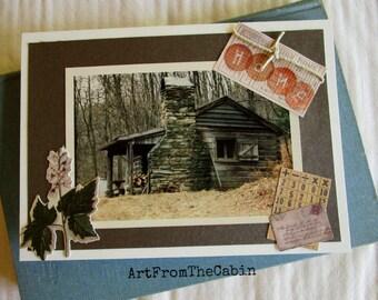 Cabin Photo Card, Housewarming Card, Rustic Cabin, Woodland, Flower, Vintage Style, Cabin Photo, Shenandoah National Park, Virginia