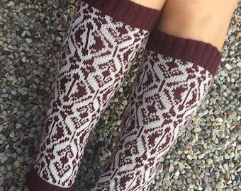 Wool leg warmers Knitted boot leg warmers Knit legwarmers for womens