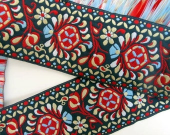 PEACOCK FEATHERS, 2 yards Jacquard trim. Red, white, light blue, silky golden on midnight blue. 2 inch wide. 460-A