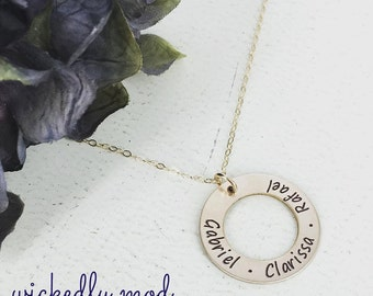 Gold personalized necklace - Silver or Gold-filled option - Simple Eternity mom necklace - Personalized Necklace - Mother Name Necklace