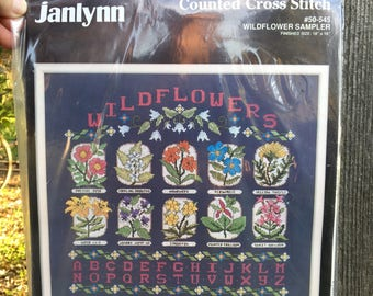Vintage Wildflowers Sampler Counted Cross Stitch Kit