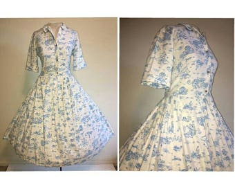 Vintage 50's Novelty Print Pastoral Toile Shirtwaist Dress || 1950's Victorian Scene Bombshell Cotton Full Skirt Day Dress Size LARGE