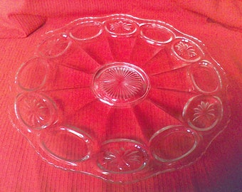 Glass serving Platter, Entertaining Dining, fine dining, Wedding, Party, Heavy Glass, Star