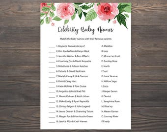 Baby Shower Games, Celebrity Baby Name Game, Celebrity Baby Shower Game, Floral Baby Shower, Celebrity Baby Names, Shower Activities, S017