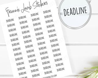 Deadline Planner Stickers (COLOR OPTIONS), 52 Clear Matte Stickers, Planner Stickers, Text Stickers, See Through Stickers, Work Stickers