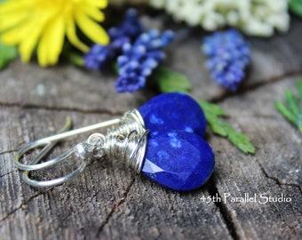 Sterling Silver Lapis Earrings, Lapis Earrings, Lapis Jewelry, Lapis Lazuli Earrings, Silver Earrings, Blue Earrings, Gemstone Earrings