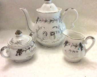Lenox 25th wedding anniversary teapot creamer sugar bowl set. Free ship