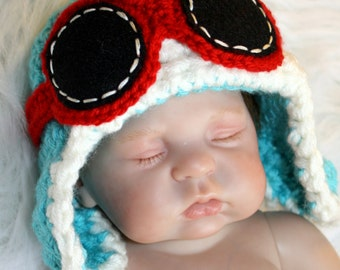 Newborn Baby Girl or Boy Aviator Hat w Goggles - Dr Seuss Inspired - Fly - Airplane Hat - Photo Prop - ANY Colors - Earflap Hat