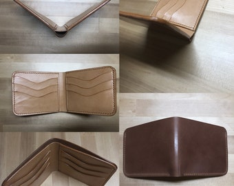 On special sale***Thin Handmade Italian Shell Cordovan Bifold Wallet with Natural Veg Tan Leather Interior
