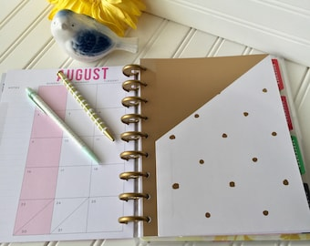 Happy Planner pocket for mini, classic or large size planner gold and white with gold polkadots