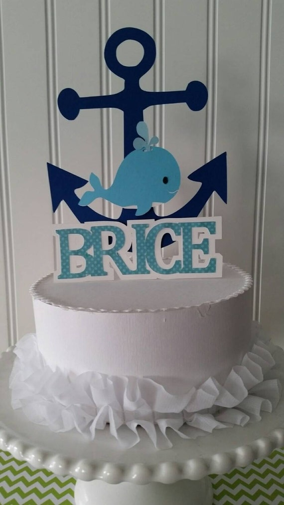 Boy Blue Whale Cake Topper Whale Party Boy Whale Baby
