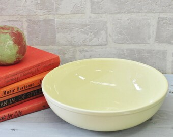 LuRay pastels heavy Yellow salad bowl, pottery bowl with small glaze chip on edge, Taylor Smith Taylor TST Lu Ray