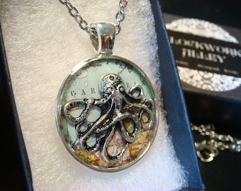 Silver Octopus over Map  Steampunk Pendant Necklace (2516)