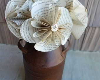 Paper flowers, Tea Stained Paper Flowers, Book Page Flowers, Paper Flower Bouquet, Teacher Present