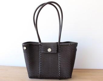 Dark Brown Woven Tote bag, Picnic Basket, Beach Bag, Getaway Bag, Picnic Bag, Weekend Bag, Travel Bag, Mexican Gift, Mexico Bag