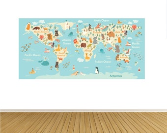 World Map Decal- Wall Decal Map Decal-Animal Map Decals-Kids Wall Decal-Nursery Wall Art Decals-Map Decal-World Map Print