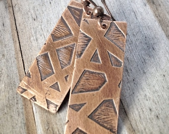 Copper Earrings, Etched Copper Jewelry