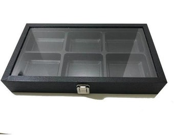 """Hinged Glass Top Display Case With Plastic Tray Liner 14x8x2"""""""