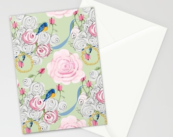 Blank Note Cards, Shabby Chic Bouquet of Bluebirds and Roses