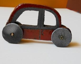 Dark Red Toy car, Raku ceramic