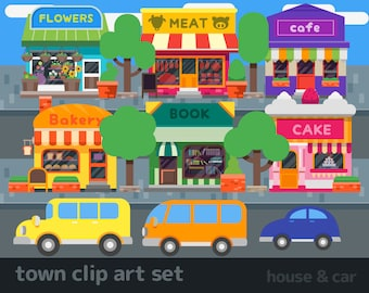 town clip art / house clip art / car clip art