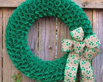 St. Patrick's Day Wreath, Shamrock Wreath, Irish Wreath, St. Patricks Day Decor, Felt St. Patrick's Day Wreath, Green Wreath, Spring Wreath