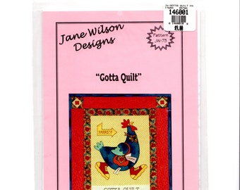 Gotta Quilt Chicken Rooster by Jane Wilson Designs Fusible Hand Machine Applique Wall Quilt Wallhanging 21.5 X 25.5 Inches New
