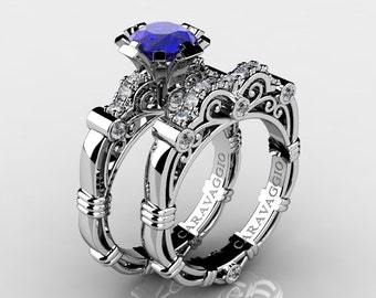 Caravaggio 14K White Gold 1.0 Ct Natural Blue Sapphire Diamond Engagement Ring Wedding Band Set R623S-14KWGDNBS