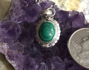 Malachite Poison Box Pendant Necklace