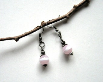 Drop Earrings - glass beads, pale pink beads, oxidized silver, dangle earrings, small earrings, boho earrings, modern, bohemian