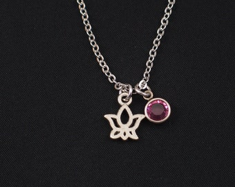 tiny lotus necklace, sterling silver filled, birthstone necklace, silver lotus charm, bridesmaids gifts, yoga gift, lotus pendant, Christmas