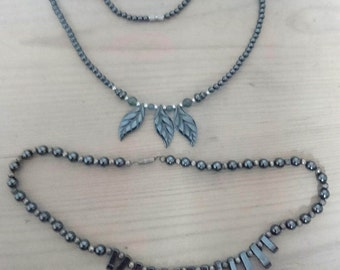 Two vintage hematite and Jade bead necklaces