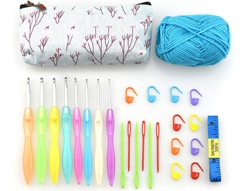 Crochet Hooks Set w/ Grips 2.5mm to 6.0mm Needle Case Organizer & 10 Stitch
