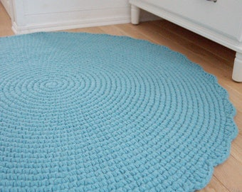 Round Crochet Wool Rug, Teal Blue Rug, Nursery Rug, Baby Boy Nursery Sky Rug, Knit Rug Pale Mint