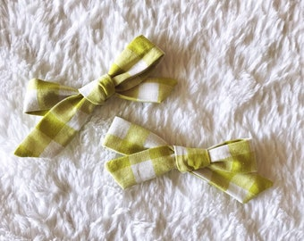 Citrus Green Plaid // School Girl Bow