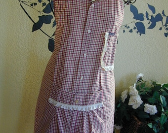 Red Green Small Plaid Dress Shirt Apron with Eyelet Trim