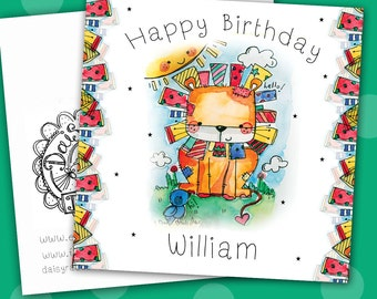 Handmade Lion Friend Watercolour print greetings card with lots of sparkle!